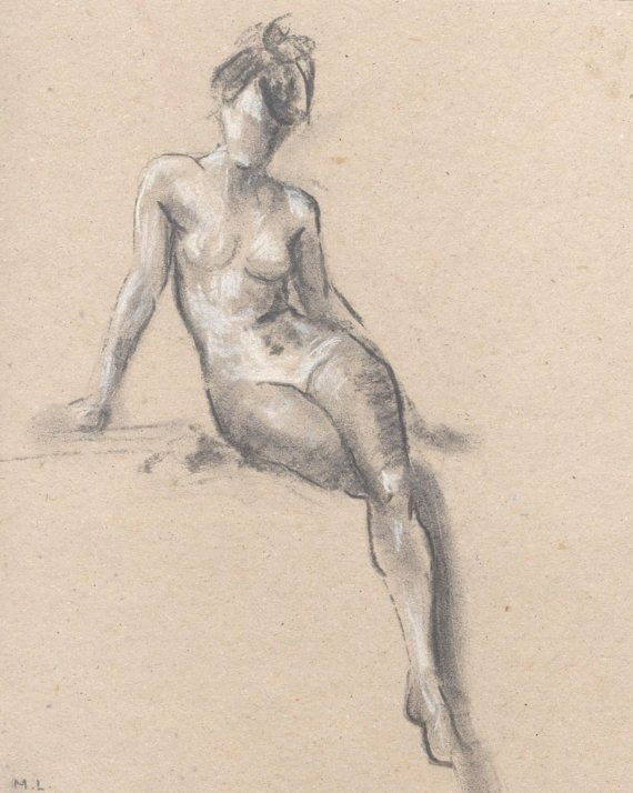 570x714 Nude Sketch. Sketch Of A Woman. Woman Sitting. Charcoal Sketch