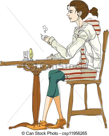 377x470 Side View Of Woman Sitting On Chair Clip Art Vector