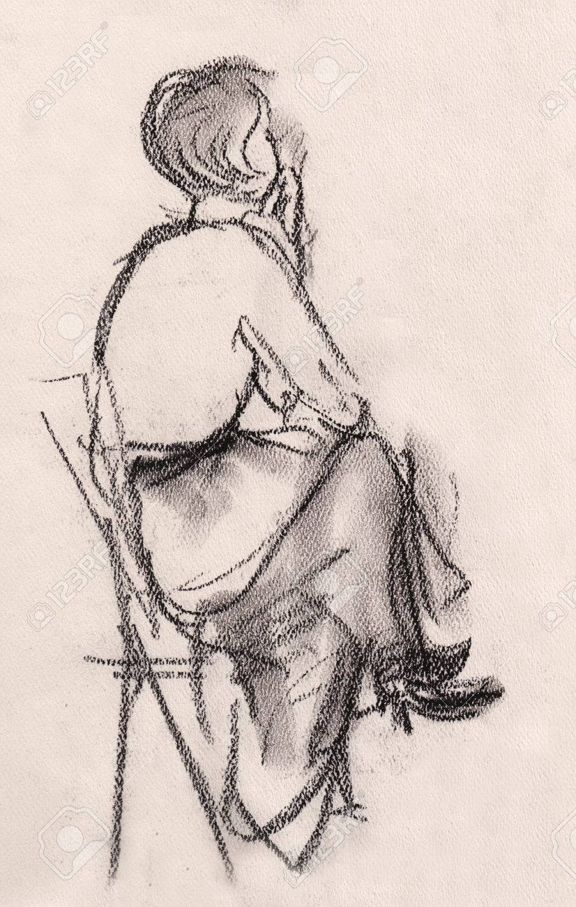 826x1300 Sketch Of Woman, Sitting On Chair And Thinking Stock Photo