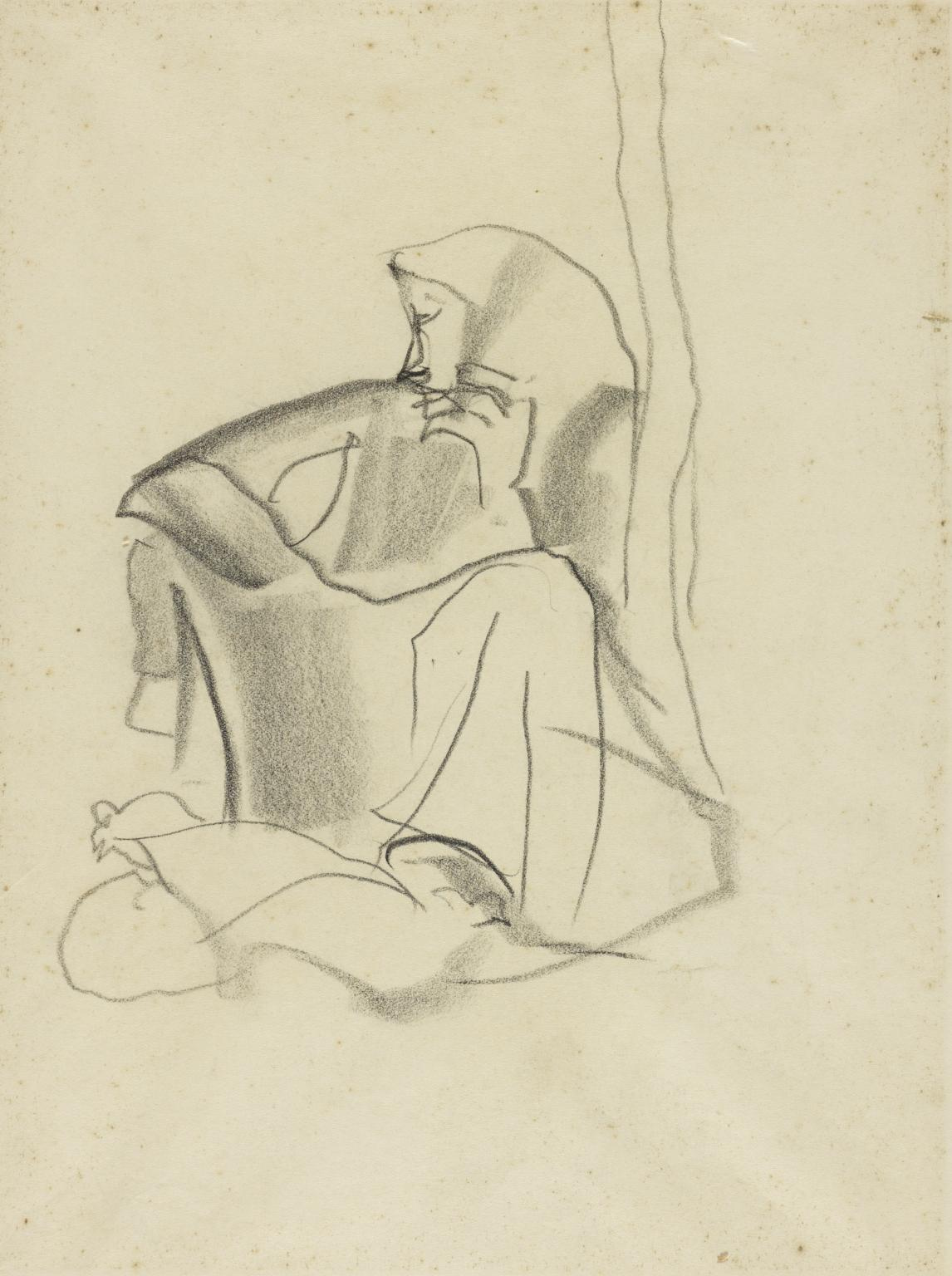 1146x1536 Sketch Of A Woman In A Headscarf Sitting Down And Leaning Against