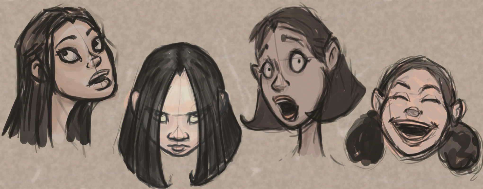 2040x800 Female Facial Expressions Drawing Exercise Sean Gallo Designs