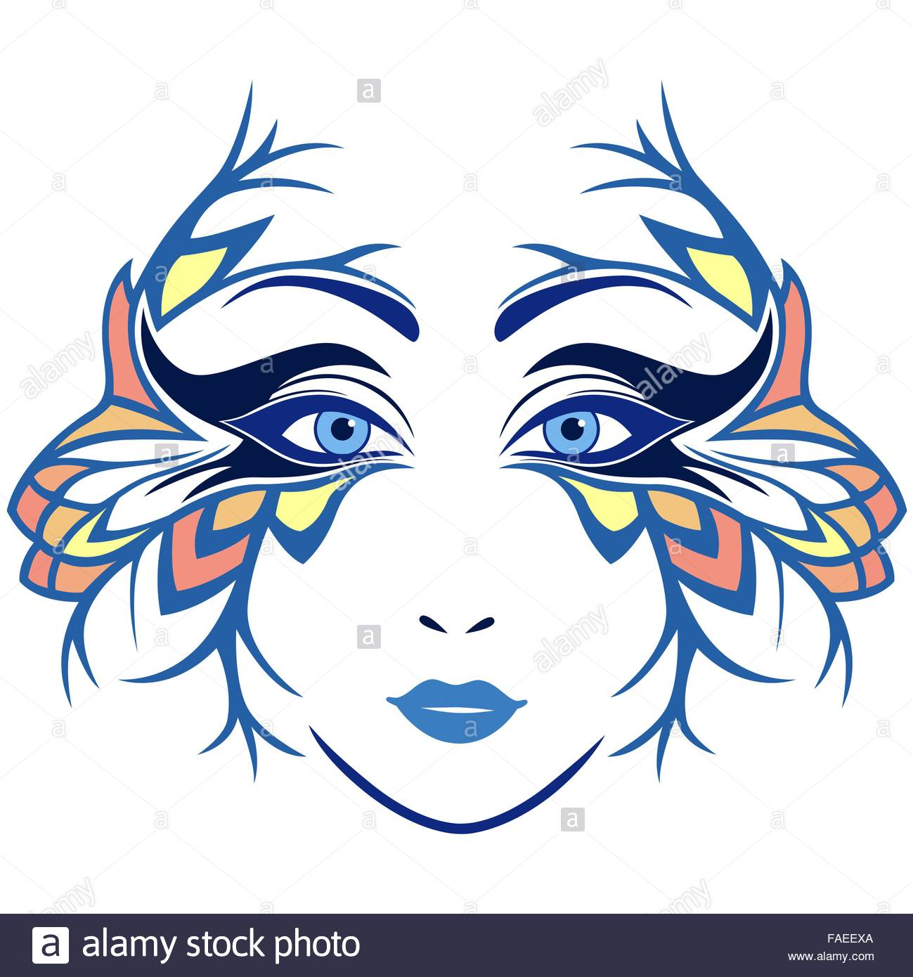 1299x1390 Abstract Colourful Women Face With Ornamental Stylized Mask, Hand