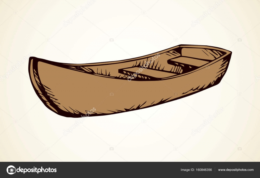1024x703 Wooden Boat. Vector Drawing Stock Vector Marinka