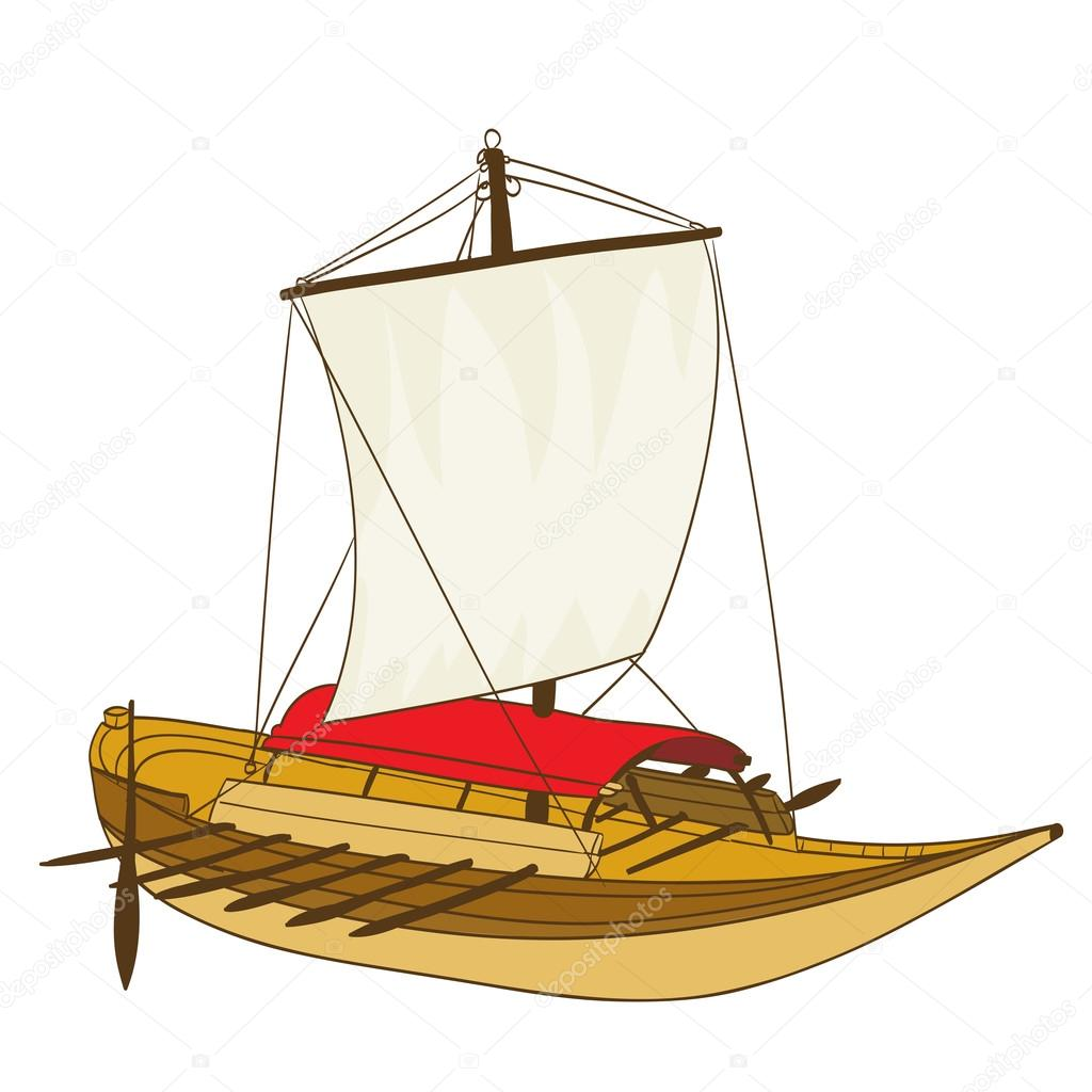 1024x1024 Wooden Sailing Boat Drawing On White. Vector Illustration Stock