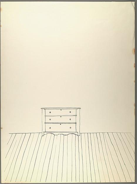 467x625 Walker Evans [Line Drawing Of Dresser On Wood Floor] The Met