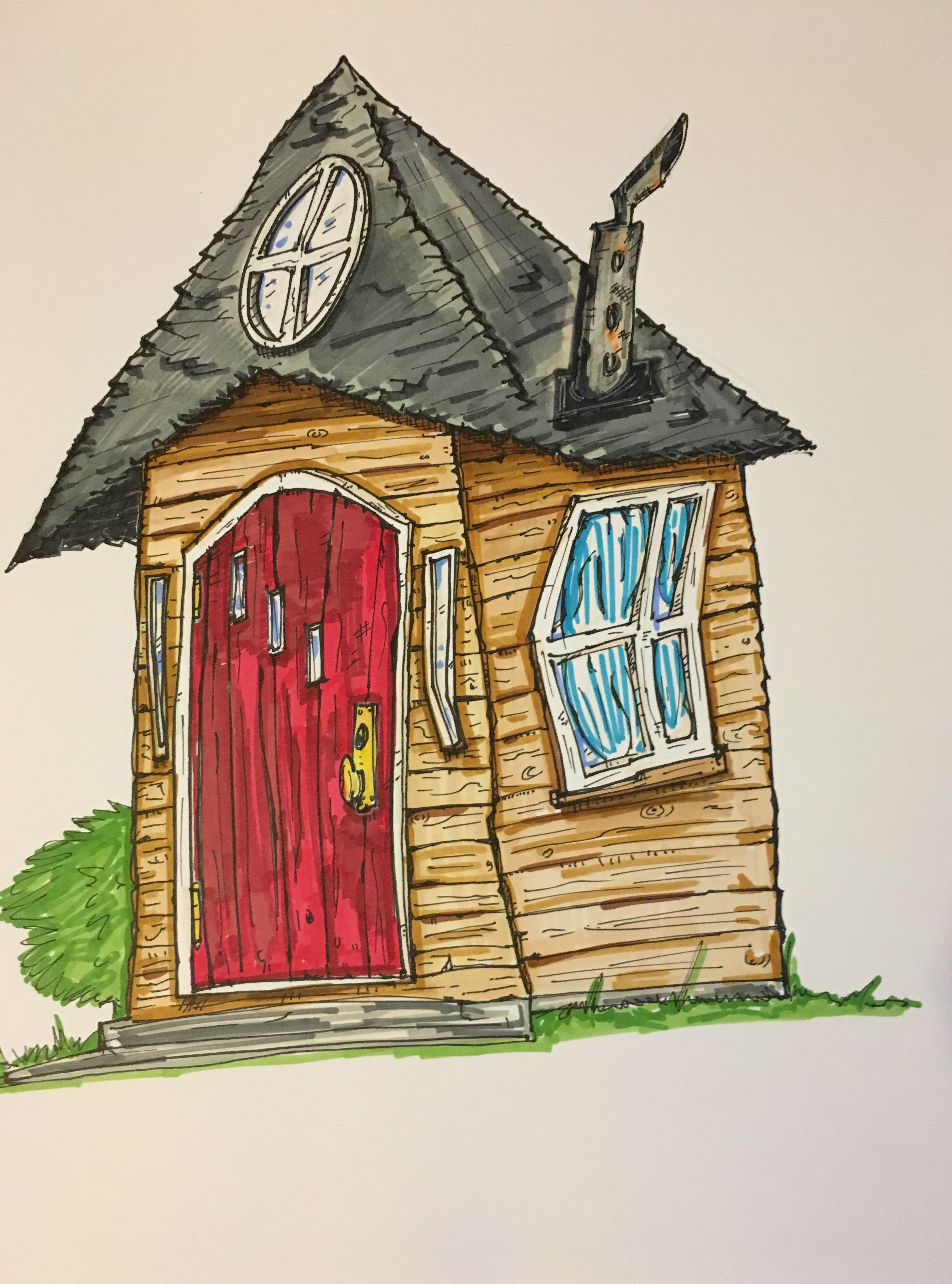2855x3851 Tim Burton Style Ole Wooden House Drawing My Artwork