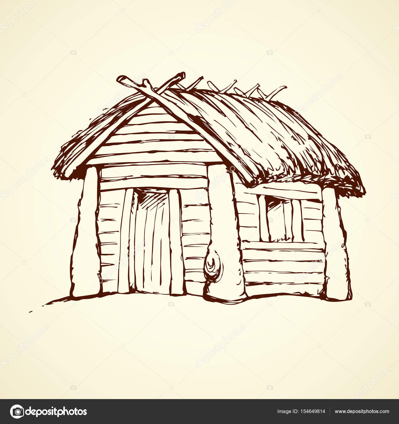 1600x1700 Wooden House. Vector Drawing Stock Vector Marinka
