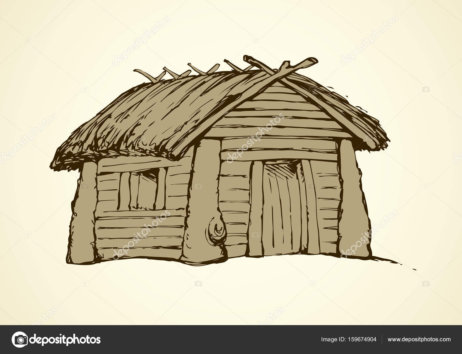 1600x1225 Wooden House. Vector Drawing Stock Vector Marinka