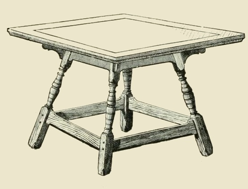 500x380 Vintage Wood Table Drawing