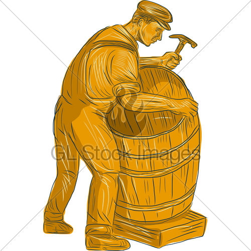 500x500 Cooper Making Wooden Barrel Drawing Gl Stock Images