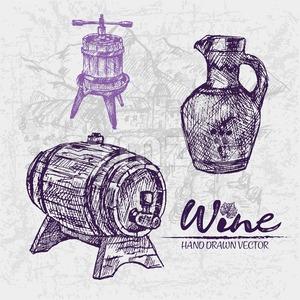 300x300 Digital Color Vector Detailed Line Art Wooden Wine Barrel Vector
