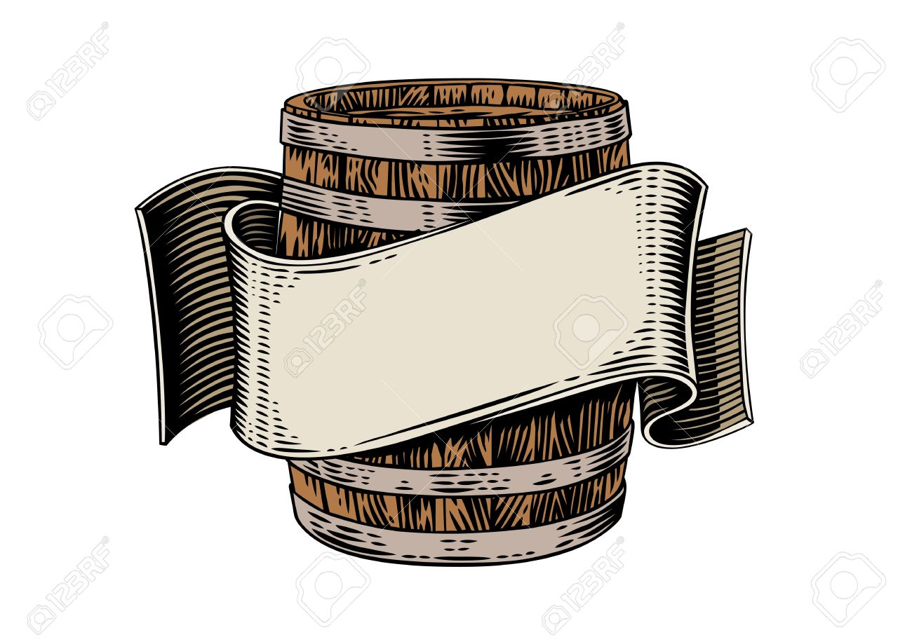 1300x919 Drawing Of Beer Wooden Barrel And Beige Ribbon On The White