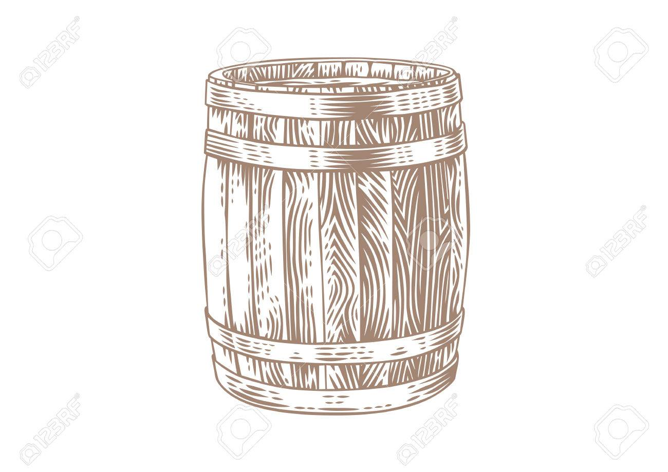 1300x919 Drawing Of Isolated Wooden Barrel On The White Background Royalty