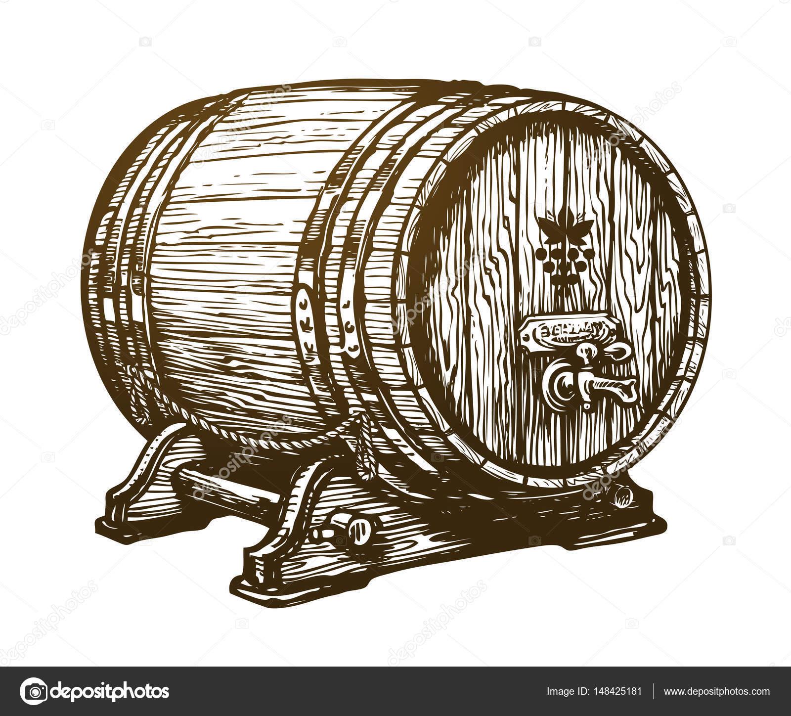 1600x1448 Hand Drawn Wooden Wine Cask. Drink, Oak Barrel Sketch. Vintage
