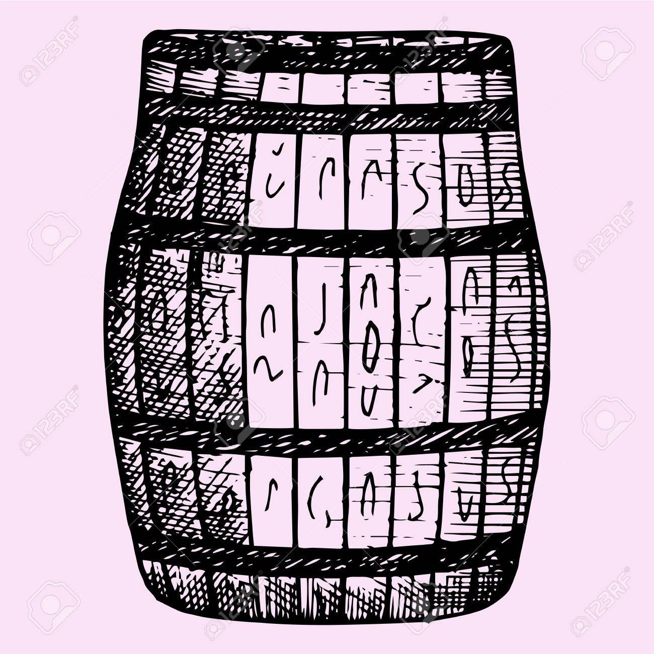 1300x1300 Old Wooden Barrel, Hand Drawn, Doodle Style, Sketch Illustration