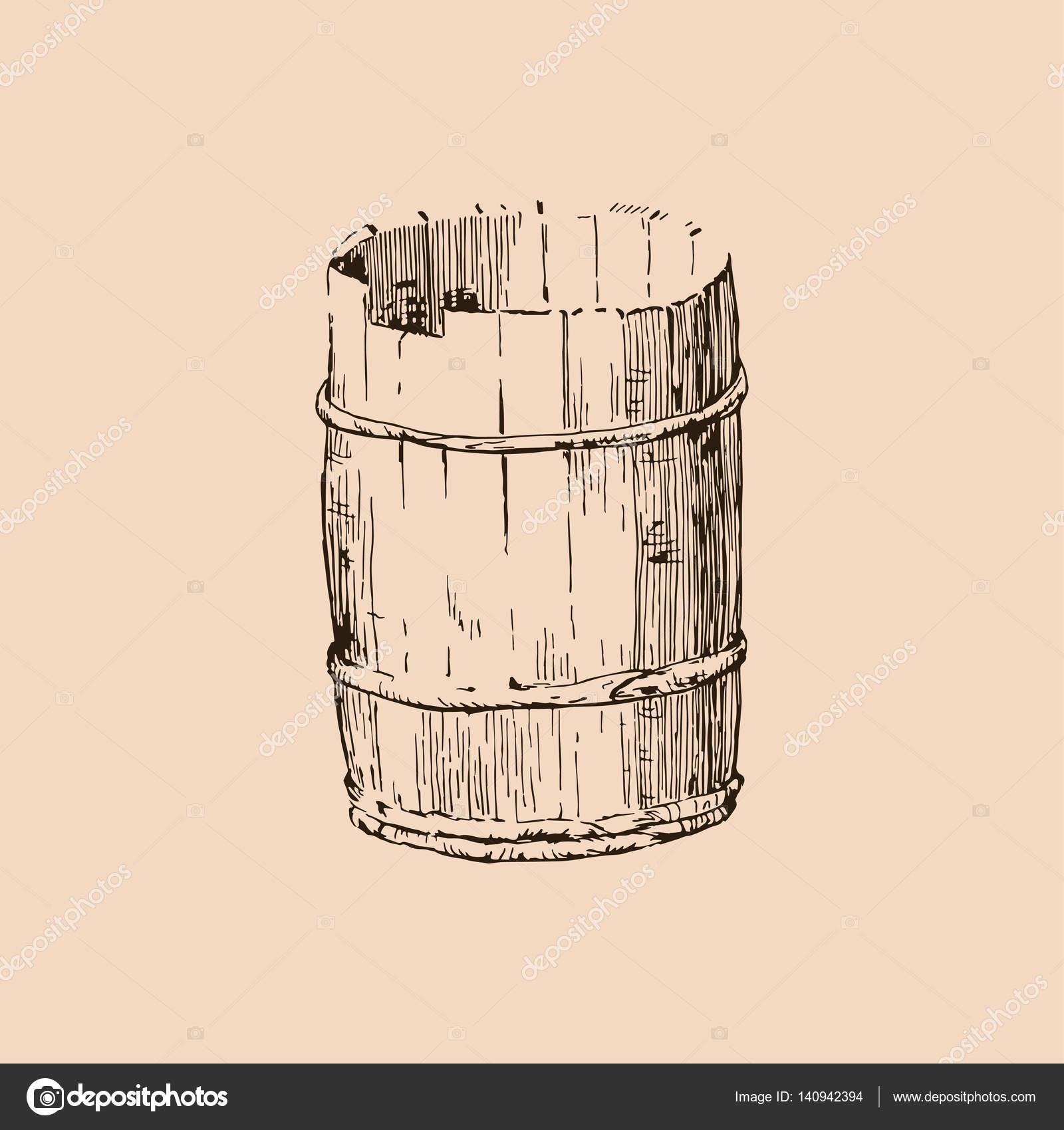 1600x1700 Vector Wooden Barrel. Hand Drawn Vintage Illustration In Engraved