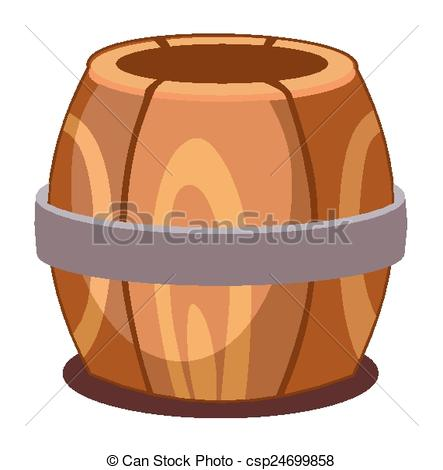 443x470 Wooden Barrel On A White Background Clipart Vector