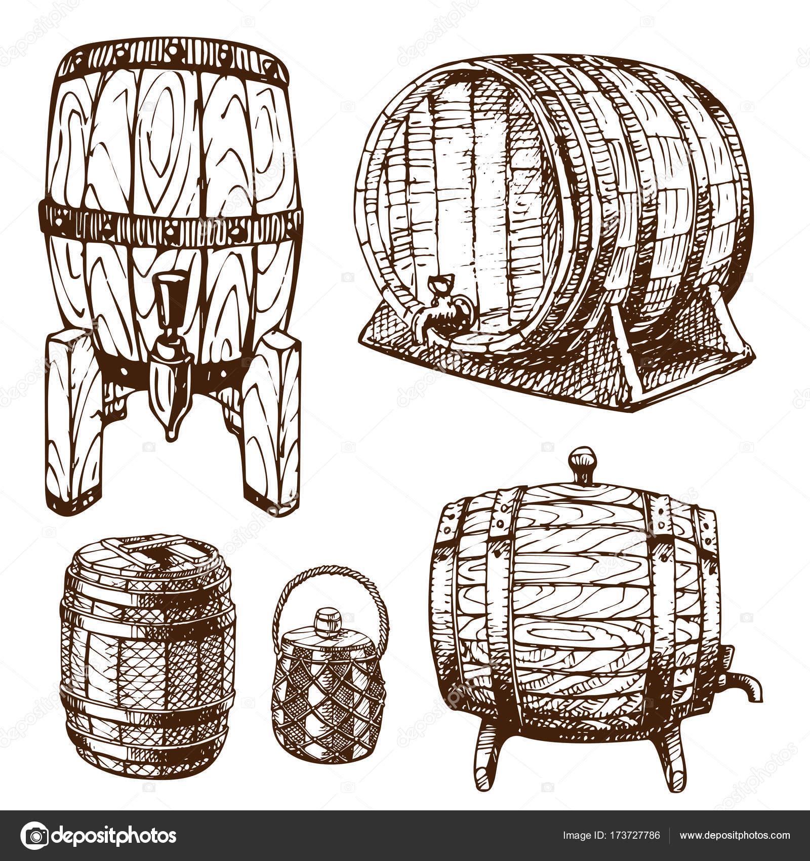 1600x1700 Wooden Barrel Vintage Old Hand Drawn Sketch Storage Container