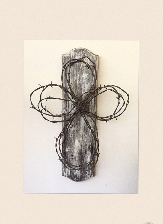570x781 Barbed Wire Rustic Cross By Simpleheartedesigns On Etsy Barbed