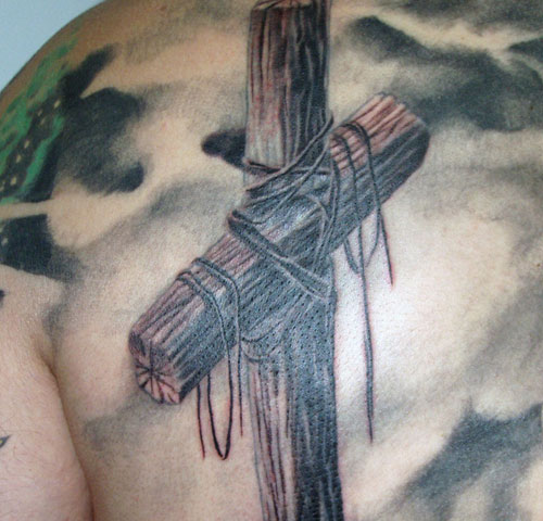 500x480 Old Wooden Cross Tattoo
