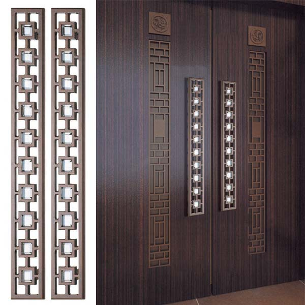 600x600 Glass Door Handle Carving Large Wooden Doors Chinese Antique