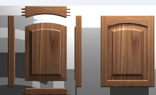 663x404 Kitchen Cabinet Door, Solid Wood Panel, 3d (Dwg Autocad Drawing
