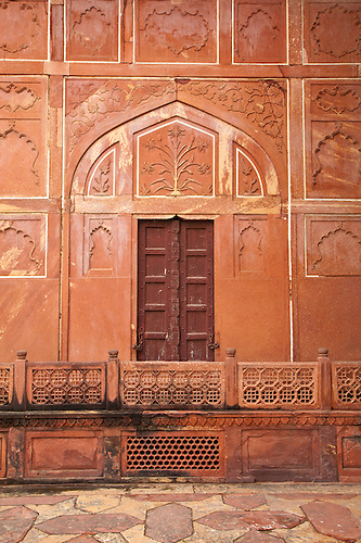 333x500 Rustic Wooden Door With Red Wall With Plant Drawing, Jaisalmer
