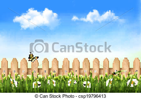450x318 Wooden Fence In Grass With Flowers And A Butterfly. Vector. Vector
