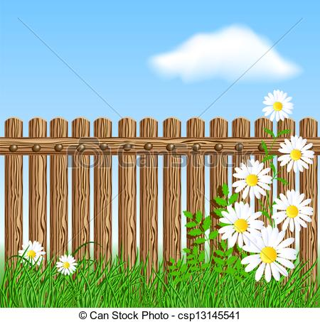 450x453 Wooden Fence On Green Grass With Daisy Against The Sky Eps Vector