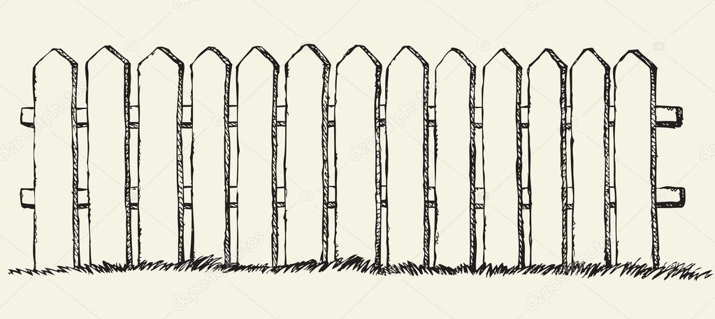 1023x457 Wooden Fence. Vector Drawing Stock Vector Marinka