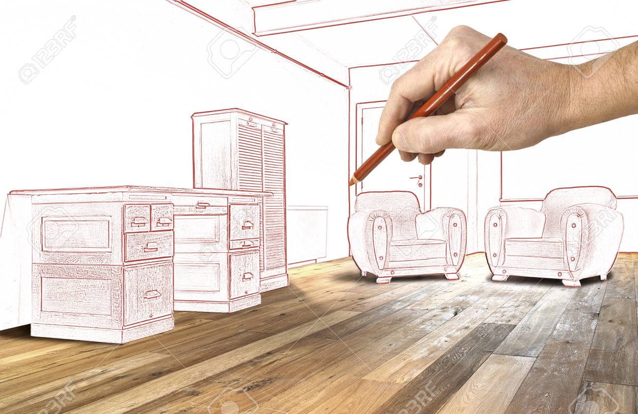 1300x844 Drawing Interior Wide Loft, Office And Wooden Floor Stock Photo