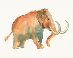 236x189 Wooly Mammoth 11x9 Original Watercolor Illustration Watercolor