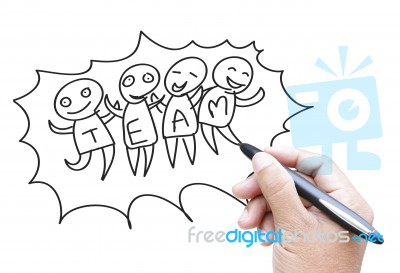 400x273 Hand Drawing Team Work Stock Photo