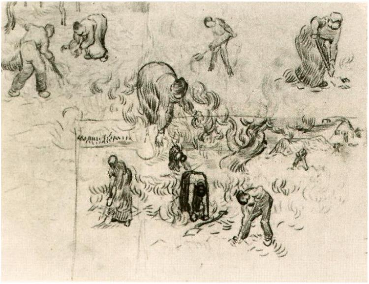 750x577 Sheet With Sketches Of Working People By Vincent Van Gogh