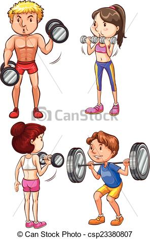 296x470 Training. A Set Of 4 Fit People Working Out Vector Clipart