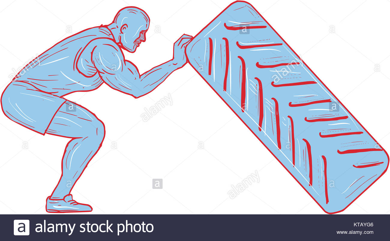 1300x805 Fitness Athlete Pushing Back Tire Workout Drawing Stock Photo