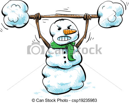 450x358 Strong Snowman Workout. A Strong, Cartoon Snowman Working