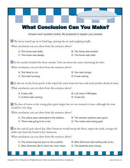 425x550 What Conclusion Can You Make Conclusion Worksheets