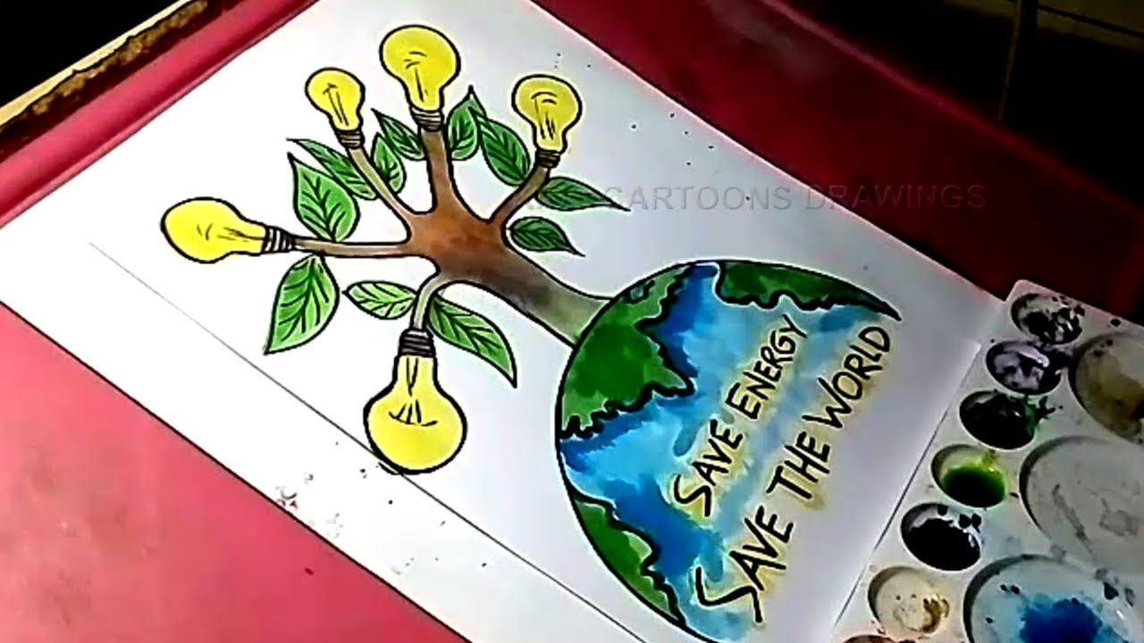 1280x720 How To Draw Save Energy And Save The World Drawing For Kids