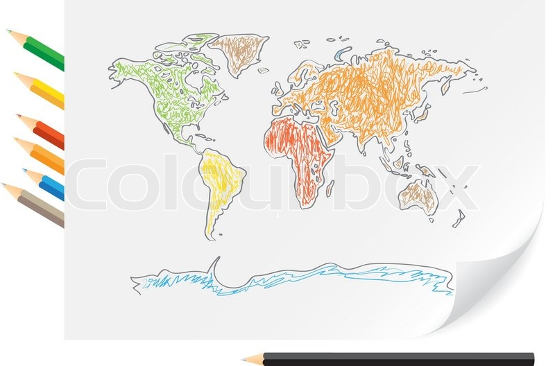 800x528 Drawing World Map By A Color Pencils On The White Paper Stock