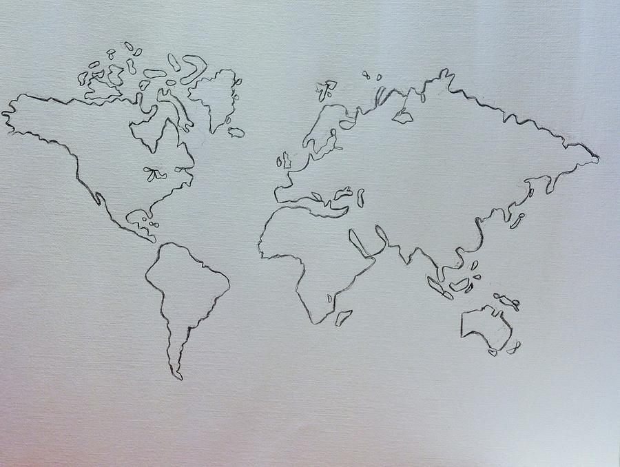 900x678 Map Pencil Drawing Drawing By Hae Kim