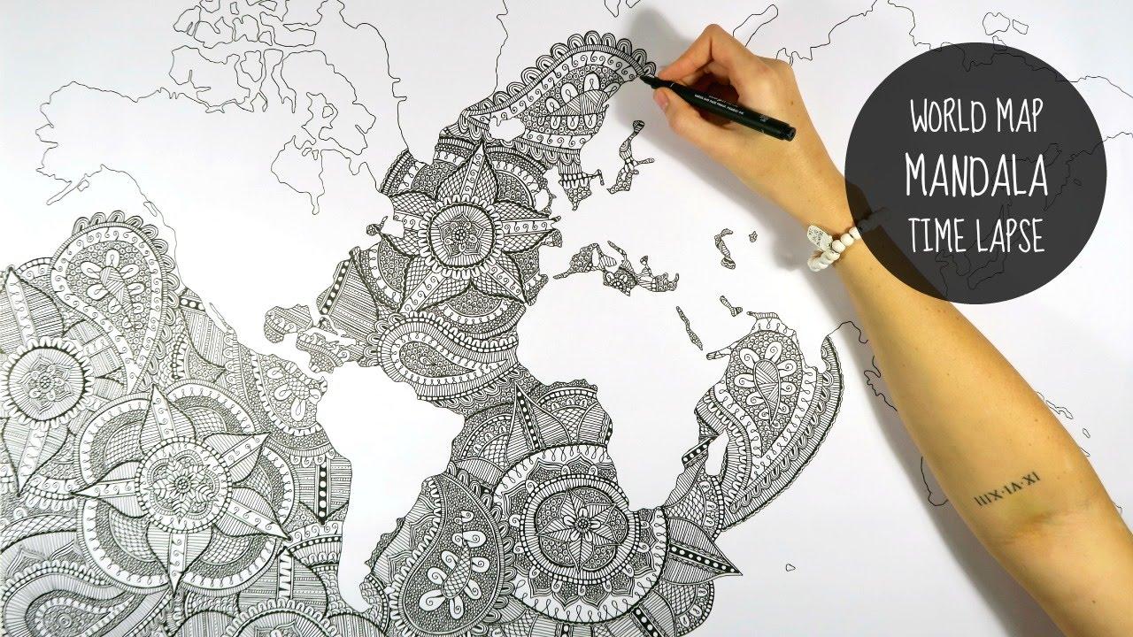 1280x720 World Map Mandala Speed Drawing