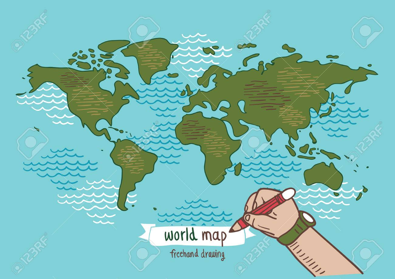 1300x919 World Map Sketch Vector, Freehand Drawing Royalty Free Cliparts