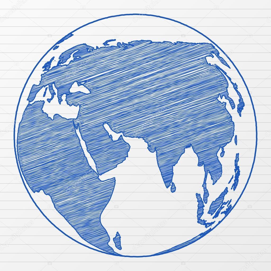 1024x1024 Drawing World Globe Stock Vector Julydfg