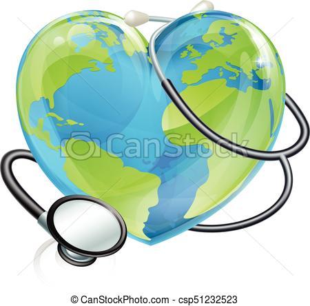 450x444 Stethoscope Heart Earth World Globe Health Concept . Vector