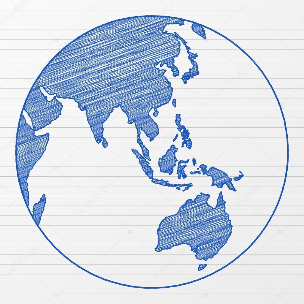 1024x1024 Drawing World Globe 4 Stock Vector Julydfg