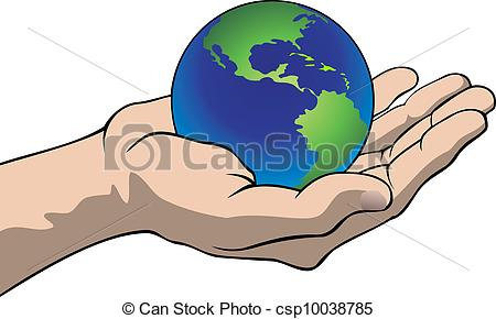 450x290 Hand With The Globe. Vector Illustration Of A Hand Holding