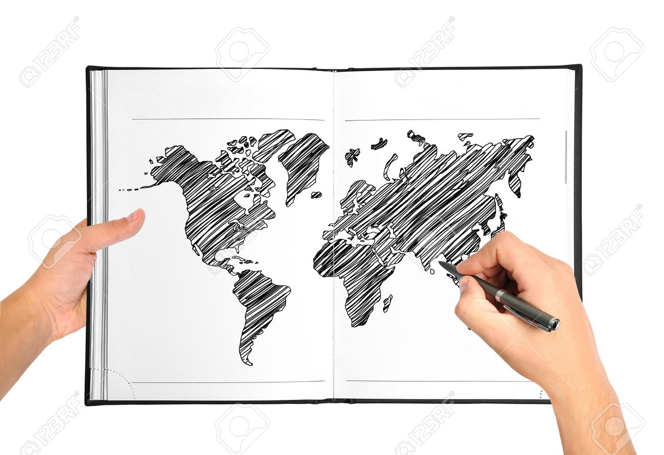 1300x891 Hands Drawing World Map In Book Stock Photo, Picture And Royalty