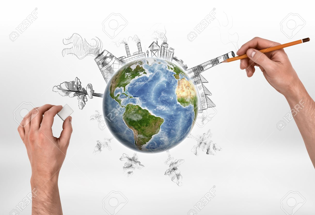 1300x888 Hands Of Man Drawing A Factory And Erasing Trees On The Globe