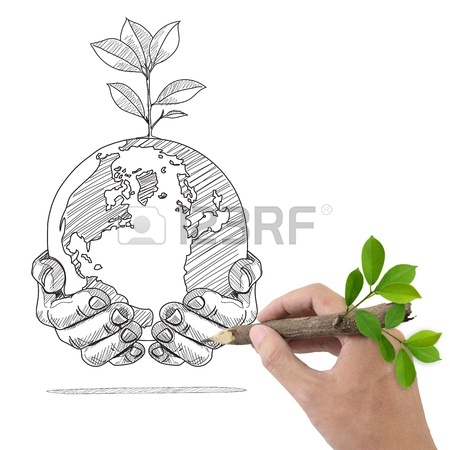 450x450 Male Hand Drawing Recycle And World Symbol Stock Photo, Picture